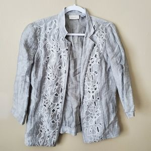 Chicos Embroidered Open Front Blue Cardigan